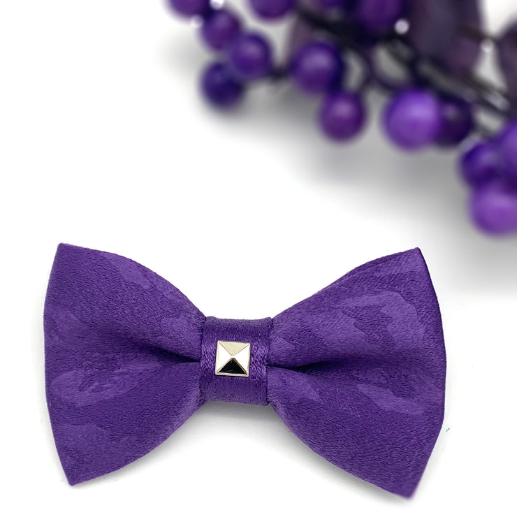 purple leopard silk dog bow tie