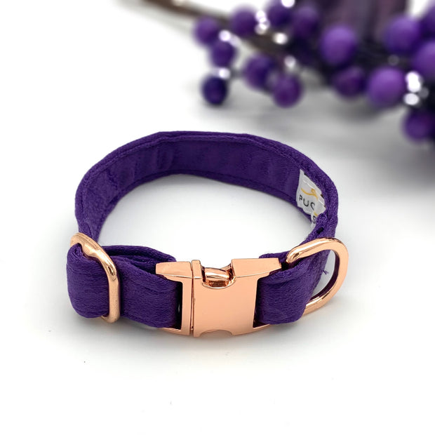 Purple satin leopard dog collar & bow tie