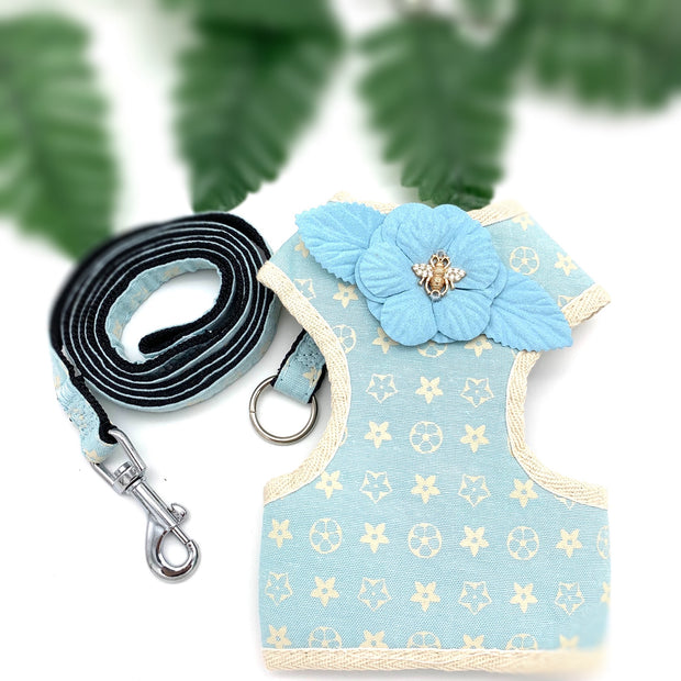 Louis Vuitton Baby blue harness & leash set - Puccissime pet couture