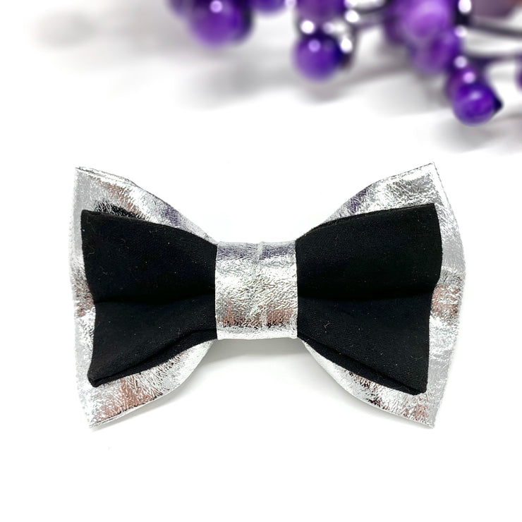 Suede and silver dog collar & bow tie set- Dropship