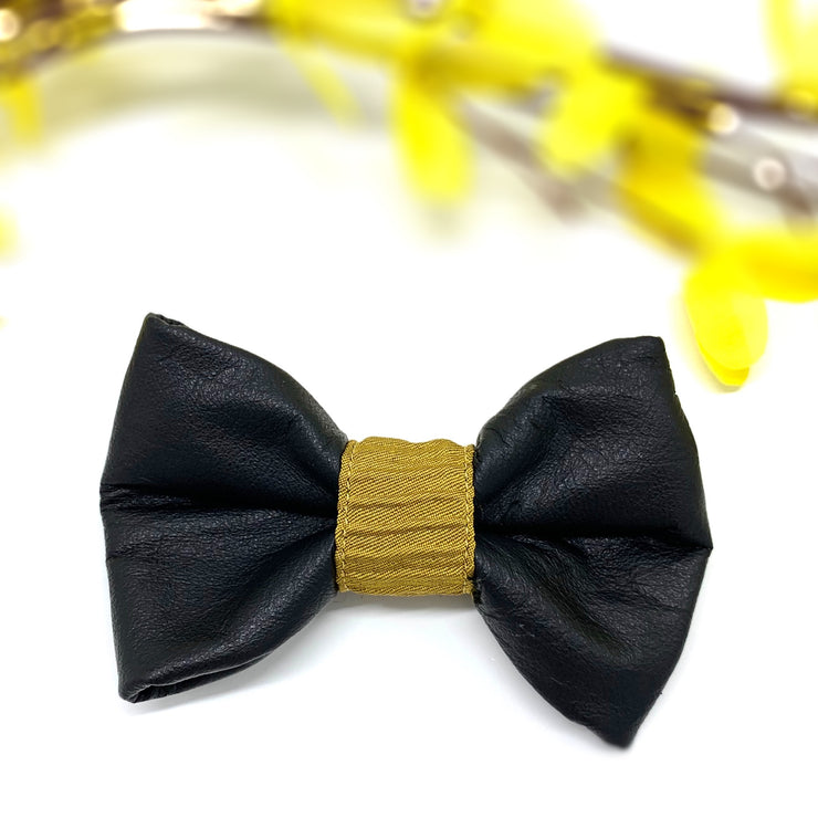 Genuine leather mustard wave dog collar & bow tie