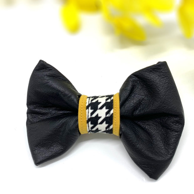 Genuine leather mustard houndstooth collar & bow tie