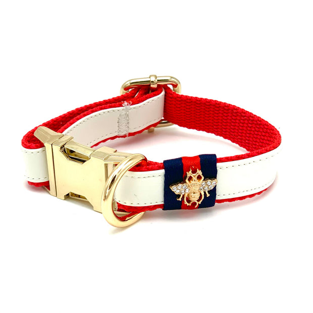 Gucci designer white leather dog collar - Puccissime Pet Couture