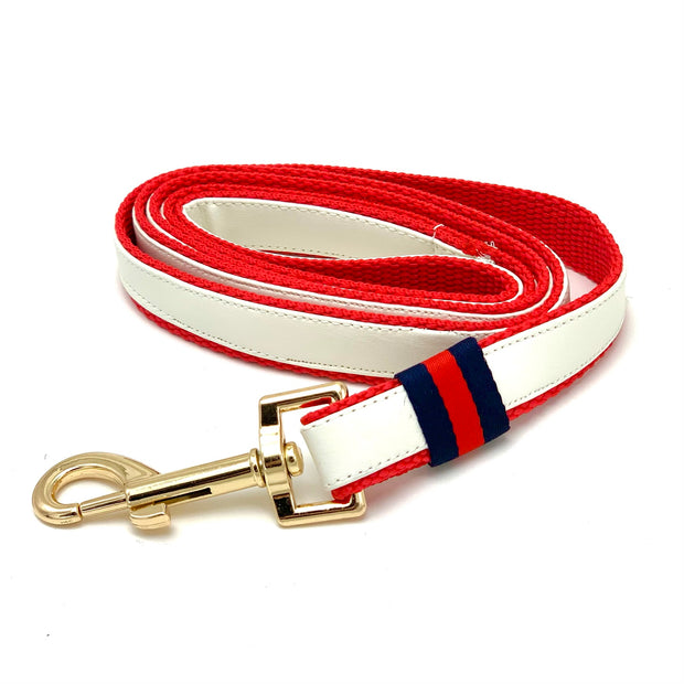 Gucci designer white leather dog leash - Puccissime Pet Couture