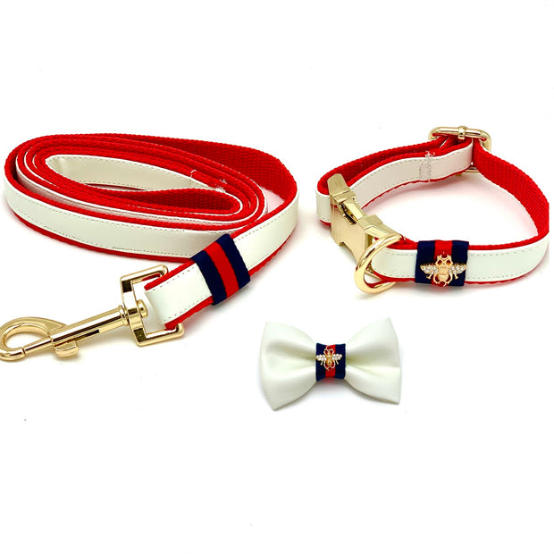 Gucci designer white leather dog collar, leash, bow tie - Puccissime Pet Couture
