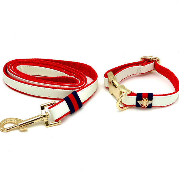 Gucci designer white leather dog collar, leash - Puccissime Pet Couture