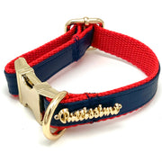 Navy & red leather bow tie-XS-collar only-Puccissime Pet Couture