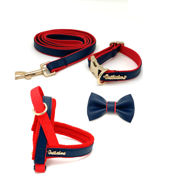 Navy & red leather bow tie - Dropship
