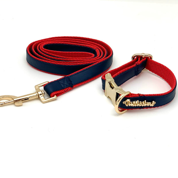 Navy & red leather leash- Dropship