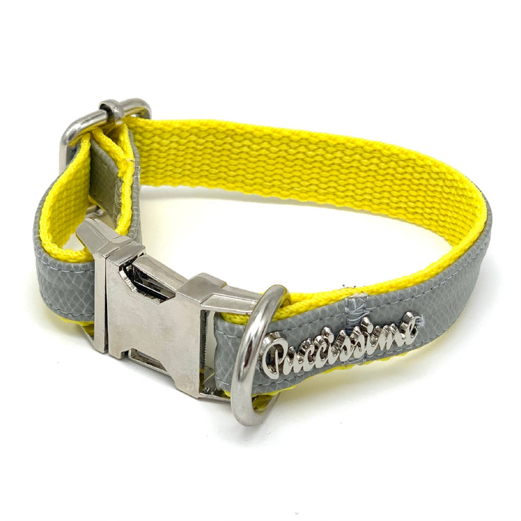 luxury designer gray yellow leather dog collar, bow tie and leash matching set - Puccissime Pet Coututre