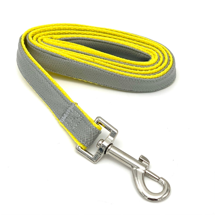 gray yellow leather dog leash - Puccissime Pet Coututre