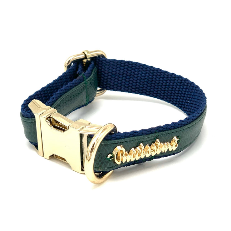 Green navy leather dog collar - Puccissime Pet Couture