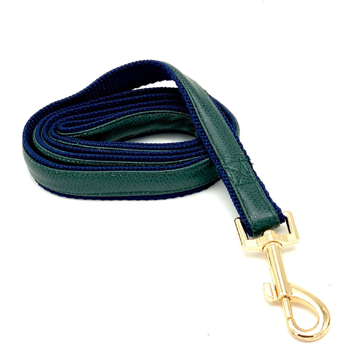 luxury green navy Pu leather dog collar , leash, bow tie and harness matching set - Elegant designer dog accessories with gold metal buckle - Puccissime Pet Couture