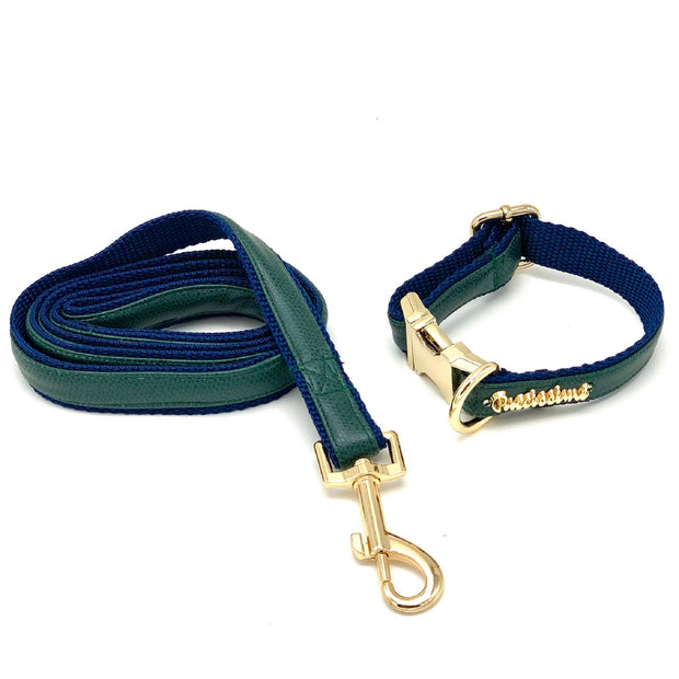 Green navy leather dog bow tie - Puccissime Pet Couture