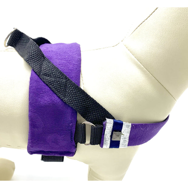 fenrir fashion purple leopard silver blue stripe dog harness - puccissime pet couture