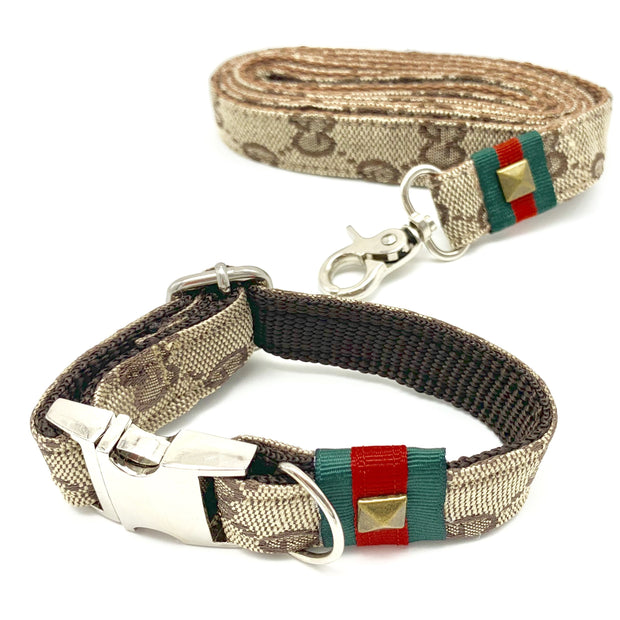 Luxury monogram Gucci dog collar and leash set