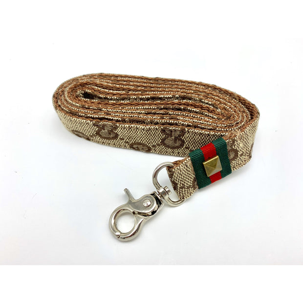 Luxury monogram Gucci dog leash with metal silver buckle