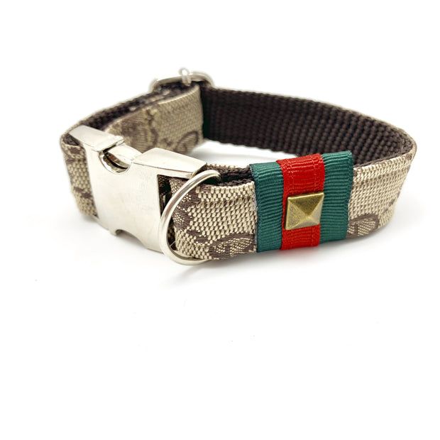 Luxury monogram Gucci dog collar with metal silver buckle