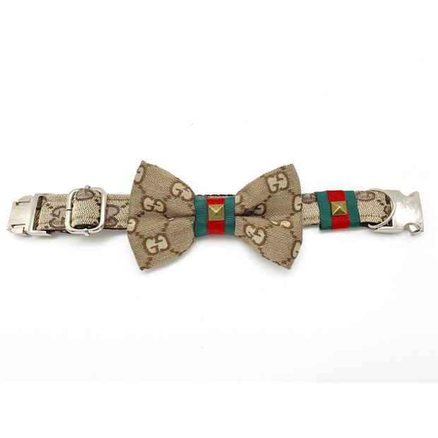 Luxury monogram Gucci dog collar and bow tie with metal silver buckle