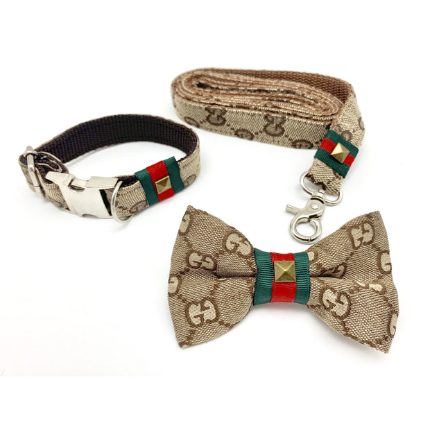 Luxury monogram Gucci dog collar, bow tie and leash set