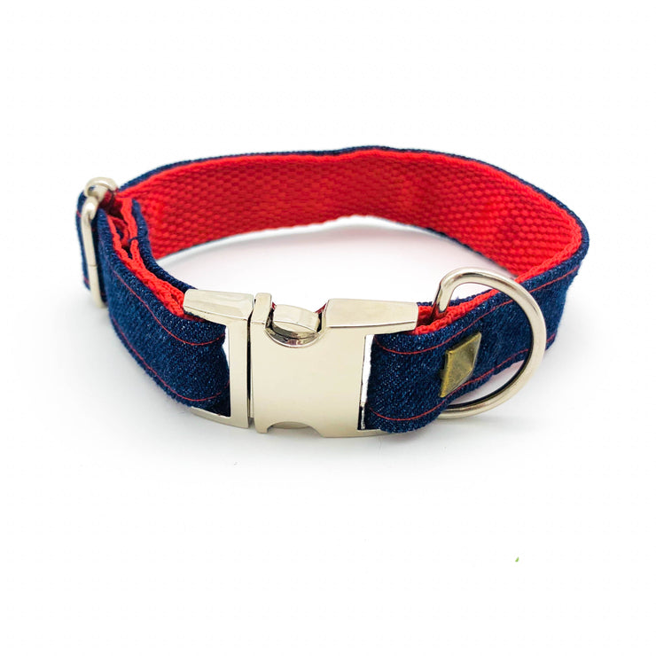 Frayed denim & red dog collar with bronze studs - Puccissime Pet Couture