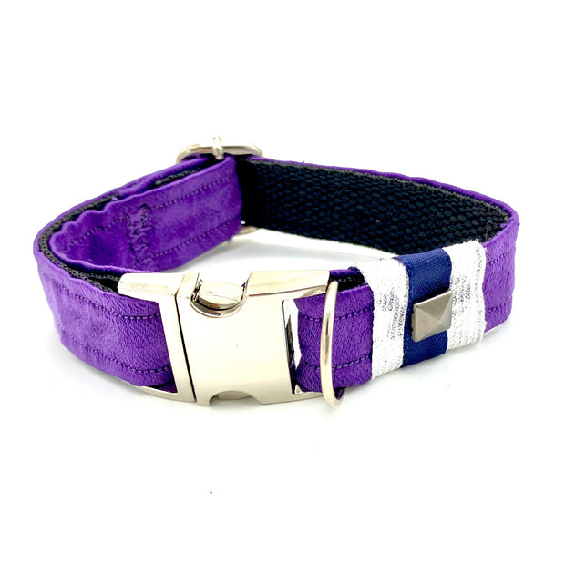 fenrir fashion purple leopard silver blue stripe dog collar  - puccissime pet couture