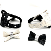 White & silver glitter leather dog bow tie and harness with Swarovski crystals