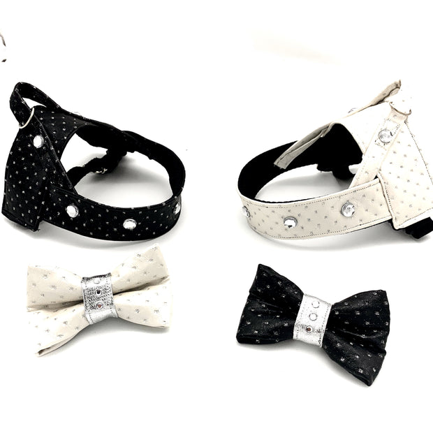Black & silver glitter leather dog bow tie and harness with Swarovski crystals