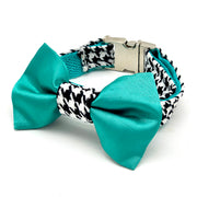 Silk turquoise houndstooth dog collar & bow tie