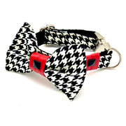 luxury posh designer unique Red houndstooth dog collar and bow tie set - Silver metal buckle - red leather ribbon