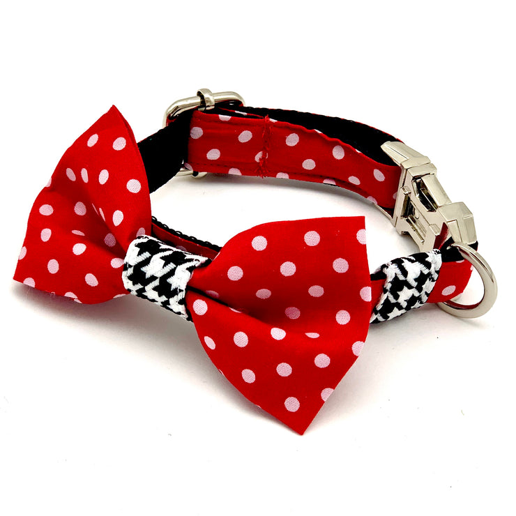 Red polka houndstooth dog collar & bow tie set