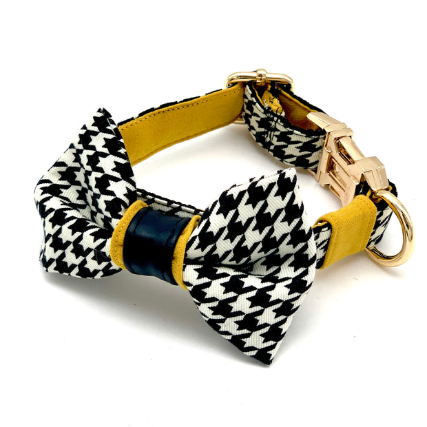 Houndstooth mustard with real leather accent dog collar & bow tie