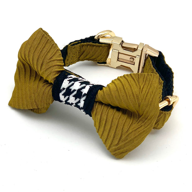 Mustard houndstooth dog collar & bow tie
