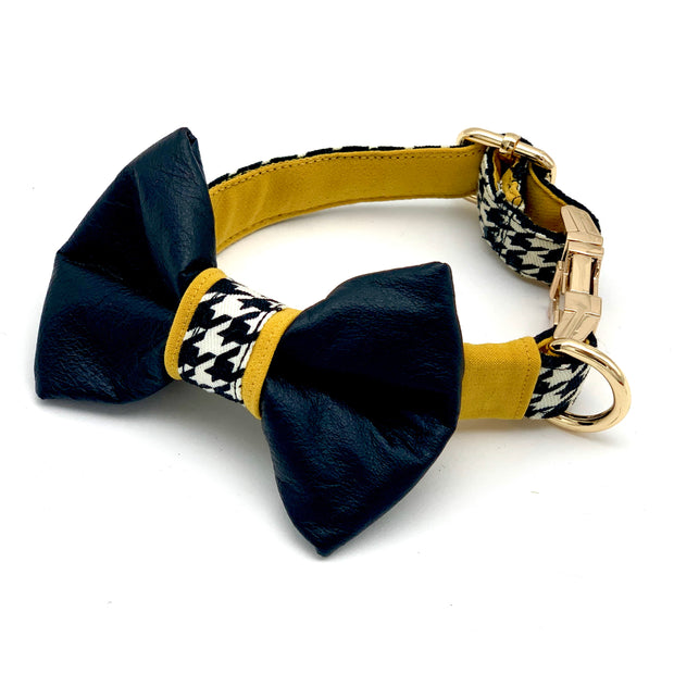 Genuine leather mustard houndstooth dog collar & bow tie