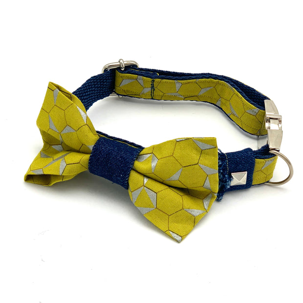 Mustard denim dog collar & bow tie set