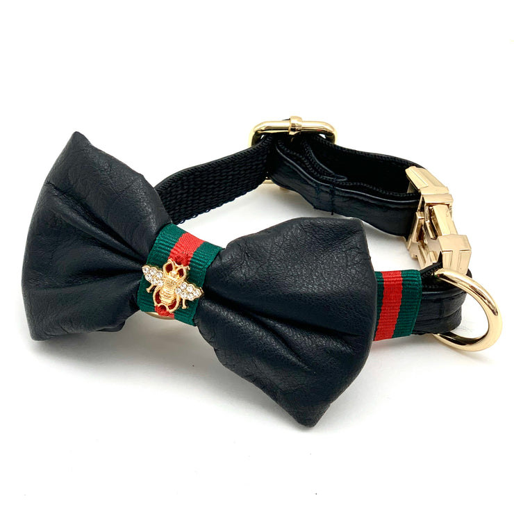 Genuine black leather designer dog collar & bow tie