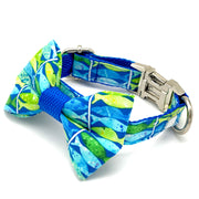 Blue neon dog collar and bow tie set- cute posh dog matching set with silver metal buckle - Blue ocean fish pattern dog accessories