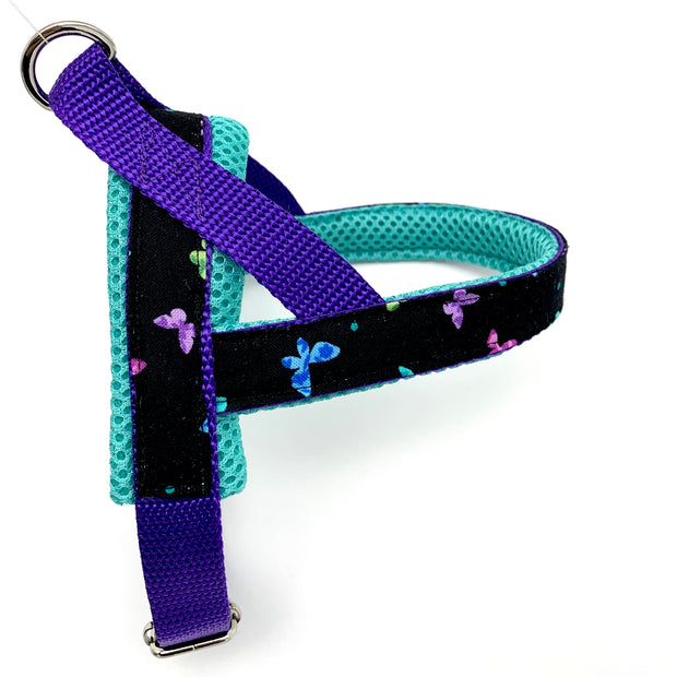 Personalized no pull dog harness - Norwegian easy wear dog harness-  Customized embroidery ID tag -turquoise butterflies dog harness