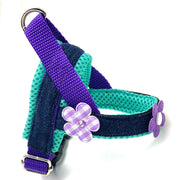 Summer denim purple and turquoise flowers no pull and easy fit norwegian dog harness