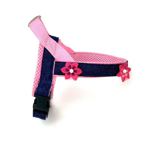 Summer pink flowers denim no pull and easy fit norwegian dog harness