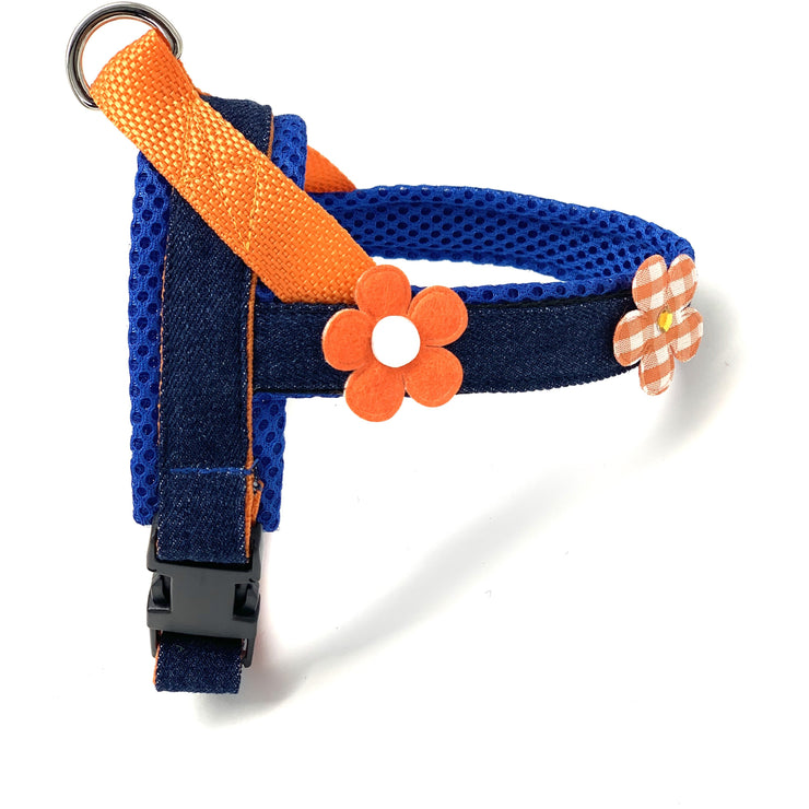 Summer orange flowers navy denim no pull and easy fit healthy norwegian dog harness