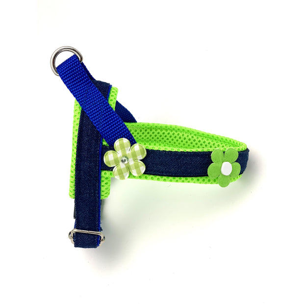 Summer Neon green flowers designer no pull easy fit dog norwegian harness