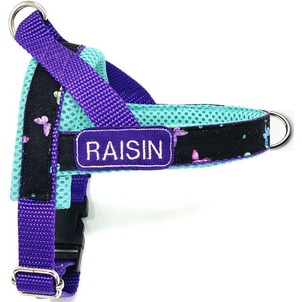 Personalized no pull no choke dog harness - Norwegian easy wear dog harness- Customized embroidery ID tag -turquoise butterflies dog harness