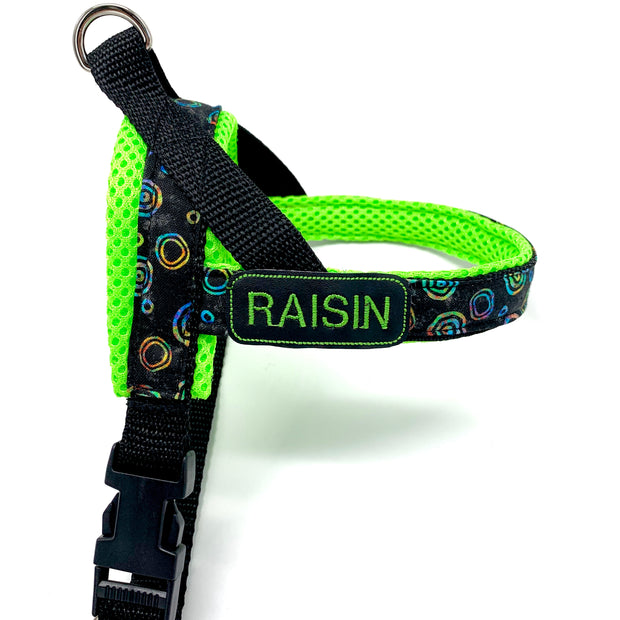Personalized no pull dog harness- Norwegian easy wear style - Customized embroidery ID tag - Green neon tie dye