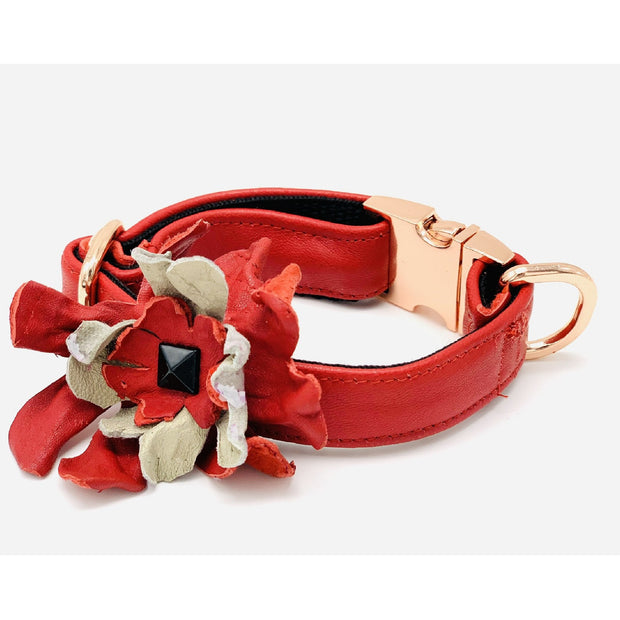 Luxury posh designer Dog collar flower- Real soft leather dog collar flower - Red & beige dog collar accessories - Rose gold metal buckle hardware