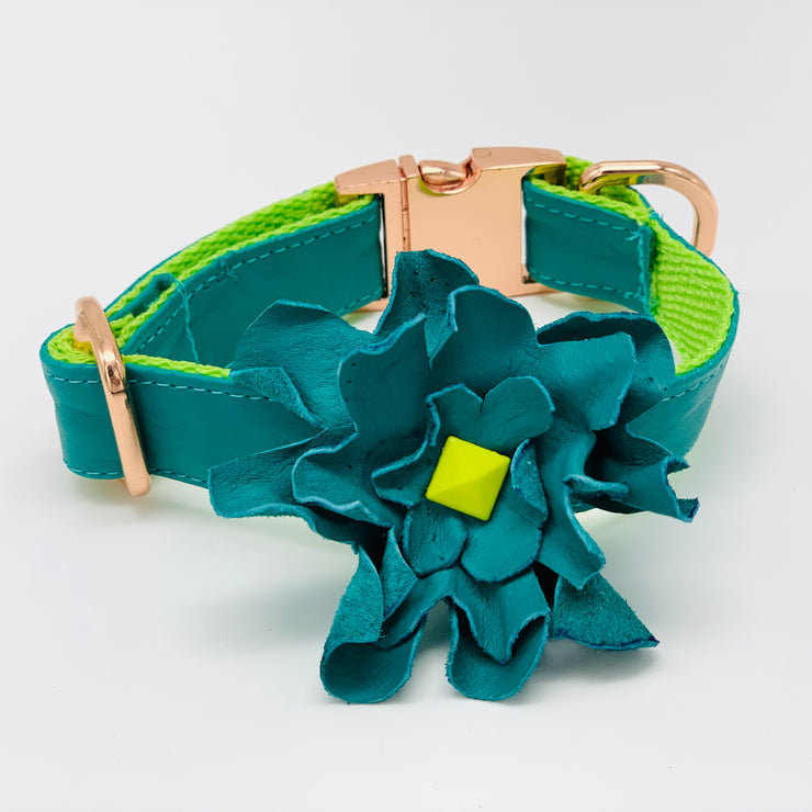 Dog collar flower- Real soft leather dog collar flower - Turquoise neon dog collar accessories -  Rose gold metal buckle hardware