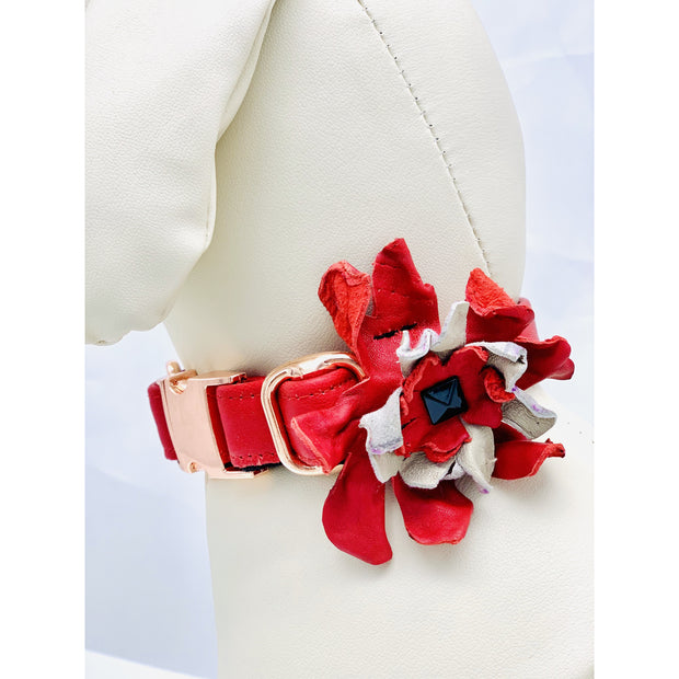 Dog collar flower- Real soft leather dog collar flower - Red & beige dog collar accessories -  Rose gold metal buckle hardware