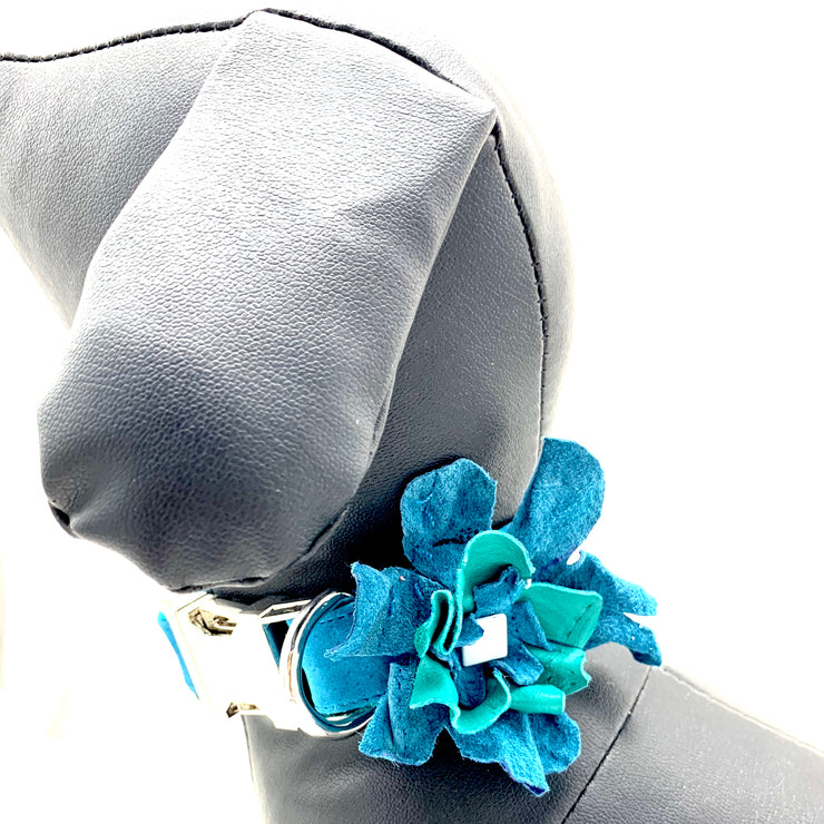 Dog collar flower- Real soft suede & leather dog collar flower - Turquoise blue dog collar accessories -  Silver metal buckle hardware