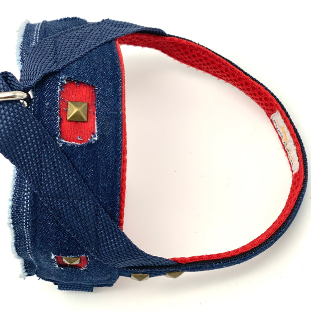 Frayed denim dog no pull harness - Norwegian dog harness - red denim no pressure harness with bronze studs - posh elegant unique dog harness