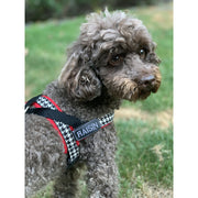Personalized red houndstooth one-click harness
